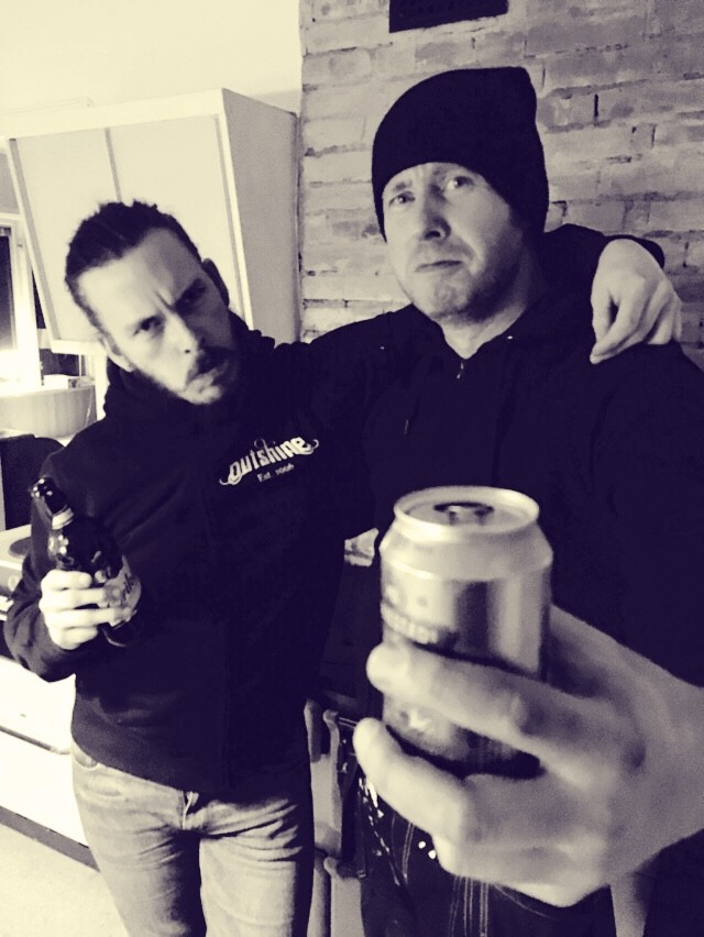 Jimmy and Niklas having a beer in 2018